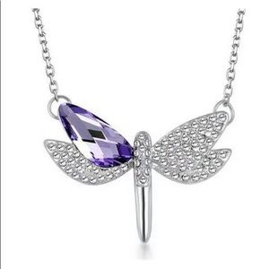 NEW Dragonfly Crystal Rhinestone Silver Necklace
